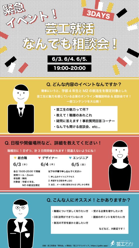 【芸工4年・M2限定】緊急イベント!芸工就活何でも相談会!開催のお知らせ